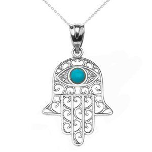 Fine Silver Hamsa Hand Turquoise Evil Eye Necklace